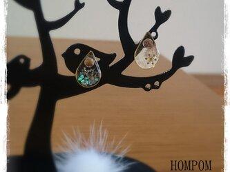 雪の結晶とオパールのピアス ホムポムの画像