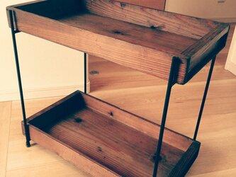 アイアン  アンティーク木箱ラックの画像