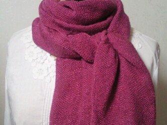 草木染め ふんわり手織りシルクストール(大人ピンク)の画像
