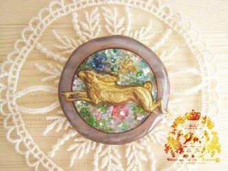 花園のウサギ・マルチカラー サークルブローチの画像
