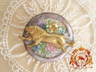 花園のライオン・マルチカラー サークルブローチの画像