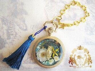ミミズクの懐中時計風バッグチャーム(ネイビー×ゴールド)※ペンダントへの変更可の画像