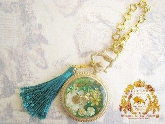 ツバメの懐中時計風バッグチャーム(ブルーグリーン)※ペンダントへの変更可の画像
