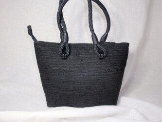 売り切れ・不祝儀も使える上品な裂き織の黒のバッグの画像