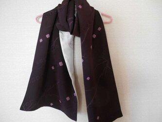 濃紫にピンクの絞り柄のショールの画像