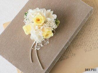 【受注製作】バラとかすみそうのコサージュ(イエロー)【プリザーブドフラワー】入園式 入学式 卒園式 卒業式 結婚式の画像