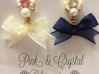 コットンパール♡ビジュー♡オーガンジー♡リボン♡ストーン♡ピンク♡クリスタル♡ピアスの画像