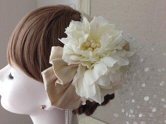 ウェディングヘットドレス ブートニアセットの画像