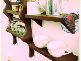 アンティーク風キッチン調味料棚三点セットの画像