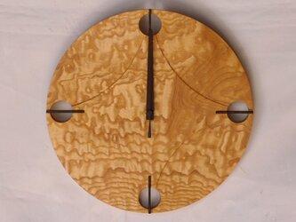 無垢の木の電波掛け時計 たも 0002の画像
