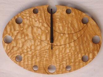 無垢の木の電波掛け時計 たも 0003の画像