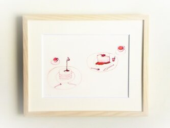 【受注制作】「ホットケーキ」イラスト原画/額縁入りの画像