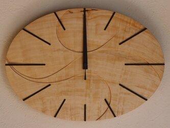 無垢の木の電波掛け時計 とち 0032の画像