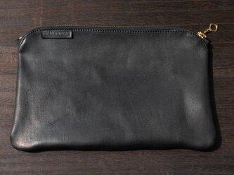 馬革ポーチ /  BLACK(黒色)size・ H130mm ×W195mmの画像