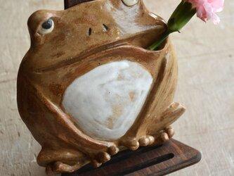 カエルの壁掛け一輪挿しの画像