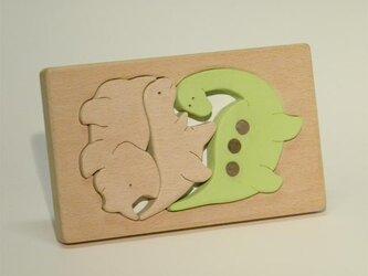 木のパズル 三頭の恐竜の画像