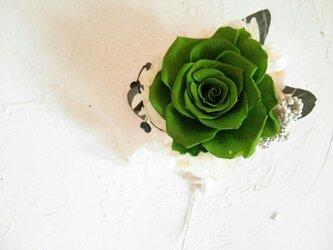 グリーンの満開ローズのコサージュの画像