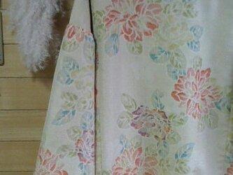着物リメイク 紬 春色花柄肩落ちギャザーOPの画像
