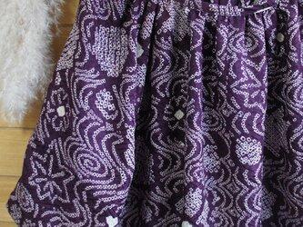 着物リメイク 紫の絞り ラグラン袖BLの画像