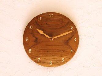 掛け時計 丸 チーク材⑫の画像