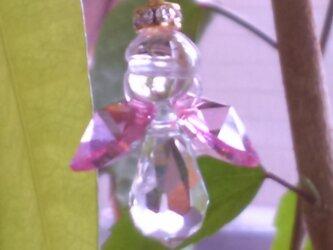 ミニエンジェルストラップピンク水晶の画像