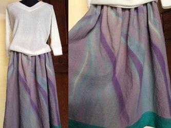 受注制作✳︎手描き染め  差し色リネンスカートの画像