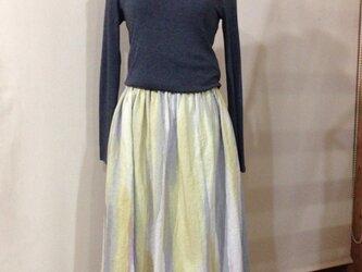 ✳︎錆桔梗色を裾に…✳︎手描き染め  リネンスカートの画像