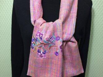 シルクウールのマフラースカーフ刺繍入り001の画像