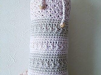 コットン糸のペットボトルカバー(薄ピンク&ベージュ)の画像