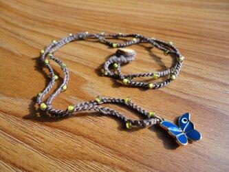 ビーズネックレス トルコ製蝶パーツナザル付きの画像