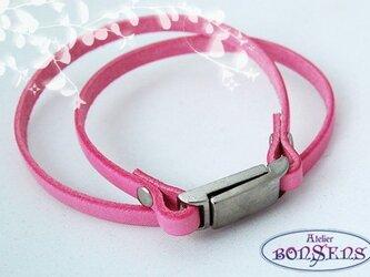 イタリアンレザー【ピンク】マグネットパーツ Wブレス MWPNの画像