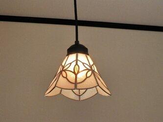 ピンクお花(ステンドグラスペンダントライト)天井のおしゃれガラス照明 Mサイズ・1の画像