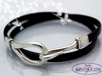 Silver925 シルバー フック & イタリアンレザー  Wブレス 【ブラック】の画像
