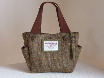 サイドポケットバッグS(ハリスツイード:カーキ色系ヘリンボーンチェック入り)の画像