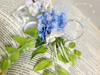 ジャスミン×ブルーオーガンジーの髪飾り★造花★の画像