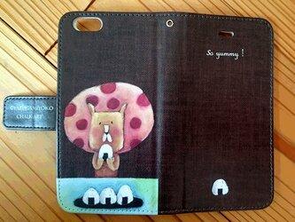チョークアートのおにぎりライオン iPhone手帳型ケース iPhone6/6Sケースの画像