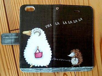 チョークアート 羊とハリネズミ iPhone手帳型ケース iPhone6/6Sケースの画像