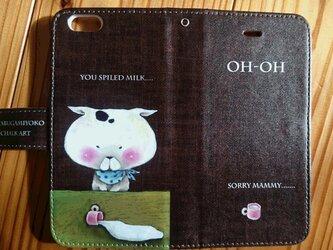 チョークアート 猫とミルク iPhone手帳型ケース iPhone6/6Sケースの画像
