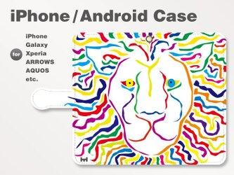 iPhone7/7Plus/Android全機種対応 スマホケース 手帳型 アニマル-ライオン-獅子 ホワイト-白 3002の画像