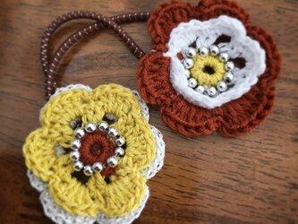 【ヘアゴム】お花-yellow &brown-の画像