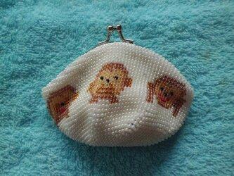 ビーズ編みがま口財布 見ざる・言わざる・聞かざる柄の画像