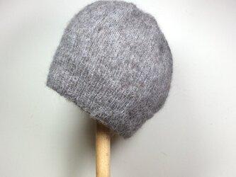モヘア ニット帽 ・グレーの画像