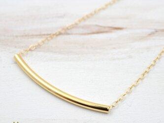 送料無料[14kgf] ゴールド チューブ ネックレスの画像