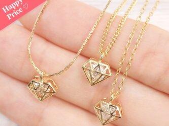 送料無料☆選べるチェーン&アジャスター♡ ダイヤモンドジルコニア ネックレスの画像