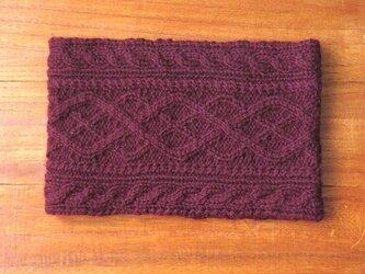 アラン模様のネックウォーマー(紫)の画像