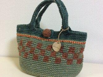 【再販】【手染め】麻ひもバッグ 緑 編みこみの画像