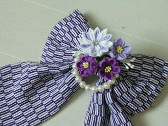 (送料込み)卒業式に!大きなリボンのクリップ(矢絣紫)の画像