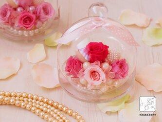 《選べる10色!母の日/誕生日/結婚祝い/新築祝いに》ガラスポットに♪ころんと可愛いプリザーブドフラワーminiohanapotの画像
