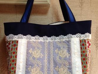 PJC刺繍 白リボン パッチワーク 帆布トートバッグの画像