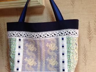 PJC刺繍 紺色リボン パッチワーク 帆布トートバッグの画像